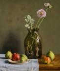 Fles met ranonkel + appels en peren. afm. 55.5x66 cm