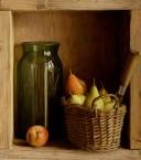Kastje met stoof peren en mes. afm. 40x45 cm