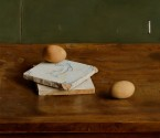 Twee tegels en eieren. afm. 35x40 cm
