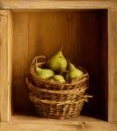 Kastje met drie mandjes en peren. afm. 40x45 cm