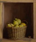 Kastje met mandje citroenen en peertje. afm. 36x41 cm