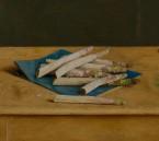 Asperges op blauw papier. afm. 40x45 cm