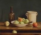 Groene appels op schaal en in lade. afm. 65x55 cm