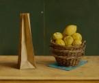 Drie mandjes met citroenen en papieren zak. afm. 50x60 cm