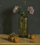 Zaad fles met roze rozen. 45,5x50cm