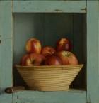 Blauwe kast met appels en nectarines . 33,5x32,5 cm