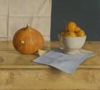 Oranje pompoen, kom met mandarijnen . 45x50 cm