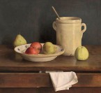 Still life with apples, pears and cream coloured jar. 55x60 cm
