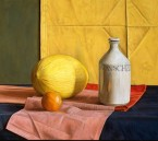Melon , soya bottle and mandarin. size 55.5x66 cm