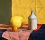 Melon , soya bottle and mandarin. size 55.5x66 cm