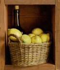 Cabinet with lemons and a bottle. Size 30x34.5 cm