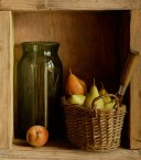 Cabinet with basket and seed jar. size 40x45 cm
