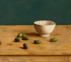 Bowl with olives one a table. size 35x40 cm