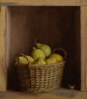 Cabinet with basket with lemons and pear. size 36x41 cm