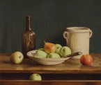 Green apples on a plate and in drawer. size 65x55 cm