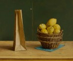 Three baskets with lemons and paper bag. size 50x60 cm