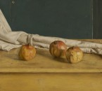 Three pomegranates with drapery. 45x50 cm