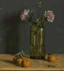Seed bottle with pink roses. 45,5x50cm