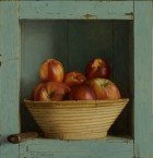 Blue cabinet with apples and nectarines. 33,5x32,5 cm